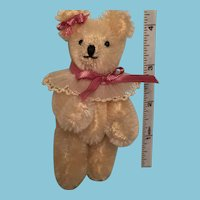 Darling Miniature White Mohair Glamor Bear 'Bella'
