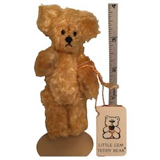 "Little 3 1/2"" Honey Colored Hand-crafted Clipped Mohair 'Cheeky' Bear designed by Chu-Ming Wu"
