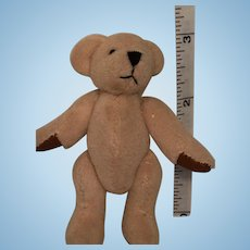 Miniature Taupe-Colored Bear with Brown Leatherette Beary Paws