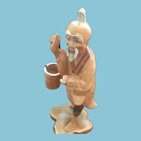 Hand-carved Wooden Asian Peasant Figurine Carrying a Water Pail