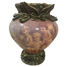 'Cupid' Glass Jardiniere with Brass-Colored Bow Trim