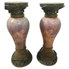 Romantic Pair of Glass Candlesticks with Brass-colored Bow Trim