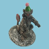 Circa 1970s George Good 'STOP' Fine Pewter Clown on a Little Car