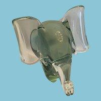 1960's Italian Pale Green Murano Glass Elephant Sculpture
