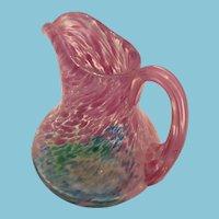 Mid-Century Miniature Hand-Blown Pink and Blue Art Glass Pitcher