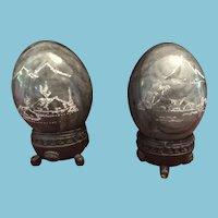 Pair of  Hand-Etched  Asian Decorative Black/Green Marble Eggs