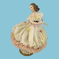 Vintage Dresden Porcelain Ballerina Figurine with a Glass Lace Skirt