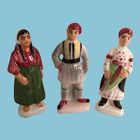 Set of Three Exotic Vintage High Gloss Porcelain Figures