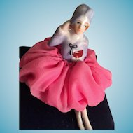 Sweet Two Piece Porcelain Flapper Doll on a Pin Cushion