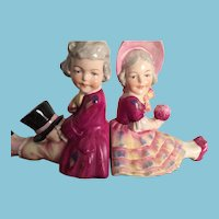 Delightful Vintage Porcelain Children Bookends on Wooden Bases