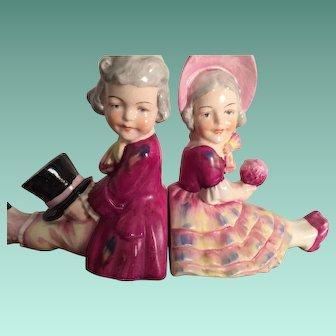 Delightful Vintage Porcelain Children Bookends on Wooden Bases
