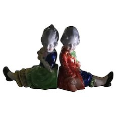 circa 1920s - 30s Pair of 'Made in Japan' Porcelain Children Bookends