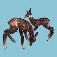 Two Circa 1945 Metzler & Ortloff Porcelain Fawns from East Germany