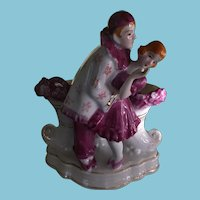 1940's Goldcastle Porcelain Spill Vase Pierrot & Mauve Lady Made in Japan