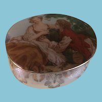 Romantic Vintage Porcelain Trinket Box with a Courting Couple in a Garden Setting
