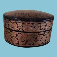 Circa 1980s Sweet Hand Painted Papier Mache Kashmir Trinket Box