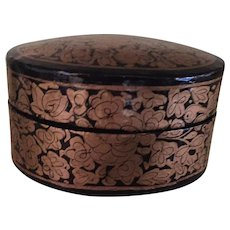 Circa 1980s Sweet Hand Painted Papier Mache Kashmir Trinket Box