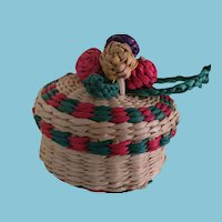 Sweet Miniature Woven Basket with Colorful Red and Green Trim