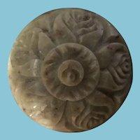 Vintage Miniature Dome Covered Carved Alabaster Trinket Box.