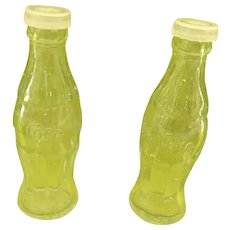 "4"" Vintage Clear Glass Coca Cola Bottle Salt and Pepper Shakers"