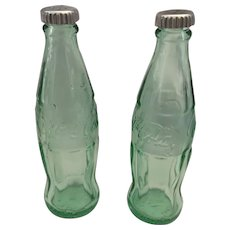 "4 1/2"" Green Glass Coca Cola Bottle Salt and Pepper Shakers"