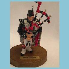 "Circa 1960s 5 1/2"" Scottish Piper in 'Royal Stewart' Tartan Regalia"