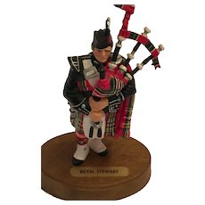"Circa 1960s 5 1/2"" Scottish Piper in 'Royal Stewart' Tartan Regalia"