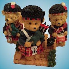 Set of Three Tiny Porcelain Teddy Bear Scottish Pipe Band Members