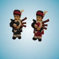 Set of Miniature Porcelain Scottish Pipers in Black Watch and Royal Stewart Tartans