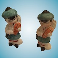 Set of Two Miniature Hand-Painted Bisque Scottish Pipers