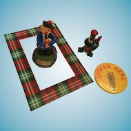 Vintage Scottish Piper, Piping Penguin, Plaid frame, and Button