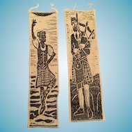 Two Hand-printed Piper and Highland Dancer Bookmarks