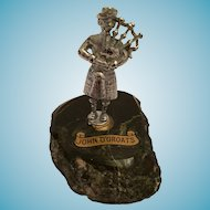 """John O' Groats 3"""" Pewter-Colored Piper on Serpentine Rock"""