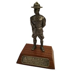 Vintage Pewter Mountie on a Wooden Base with an RCMP Plaque