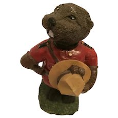 Classic Canadian Porcelain Beaver in a Mountie Uniform