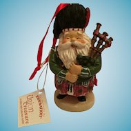 Happy Scottish Piper in Red Tartan Regalia Christmas Ornament