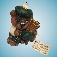 Hand-made Porcelain Scottish Piper Teddy Bear Christmas Ornament