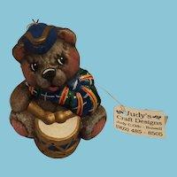 Hand-made Porcelain Scottish Drummer Teddy Bear Christmas Ornament