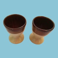 Vintage Brown Boston Bean Pot Pattern Glazed Ceramic Earthenware Egg Cups
