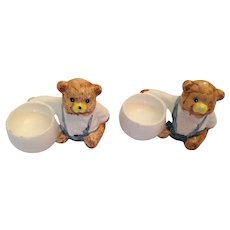 Pair of Vintage Glazed Porcelain Teddy Bear Egg Cups