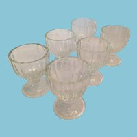 Set of Six Depression Glass Fluted Egg Cups with a Glass Maker's 'D' Mark
