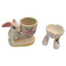 Group of Two Vintage Glazed Porcelain Egg Cups - Bunny and Feet