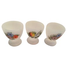 Group of Three 1940s Embellished Milk Glass Egg Cups