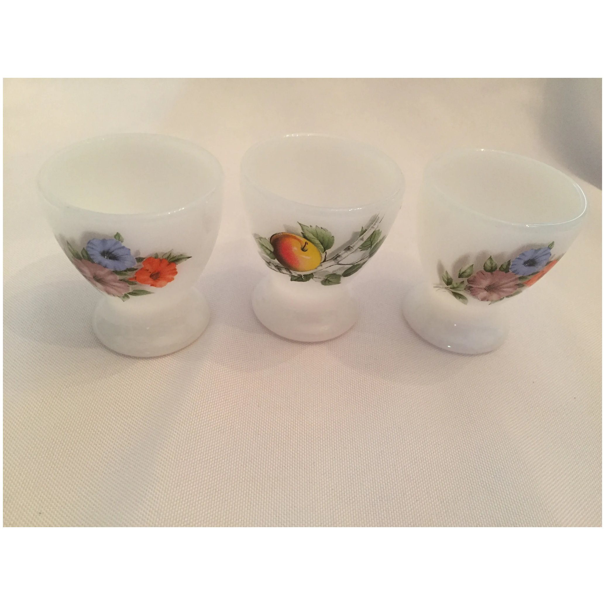 Three Vintage Milk Glass Egg Cups with Red Rose Design by Arcopal France 70s 19076