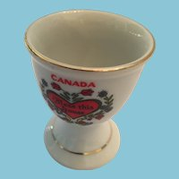 1960s White porcelain Egg Cup Marked 'Canada - Bless This House'