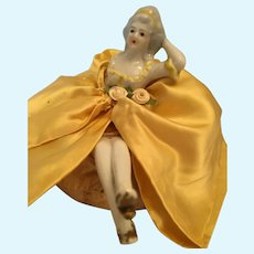 Circa 1940s Sweet Two Piece Porcelain Pompadour Doll on a Pin Cushion