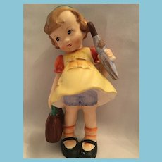 "Mid-century 7 3/4"" Hand-painted Porcelain 'Girl with an Umbrella Figurine"