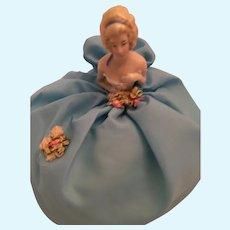 Circa 1950s Sweet Porcelain Half Doll on a Pouffe Skirt Satin Pin Cushion