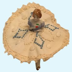 Circa 1930s Sweet Two Piece Porcelain  Doll on a Pin Cushion