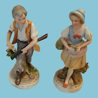 Pair of Hand-painted Colonial Bisque Couple Marked 'N'